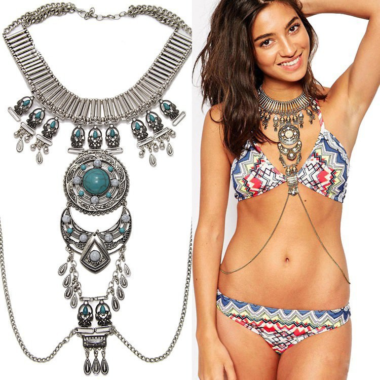 159-9ec0f64368ed94d1552d3d5bc0efa834 Vintage Bohemian Choker With Tassel And Body Chain
