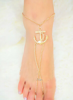166-1a57c912a868d59985b2c6365a9c90eb Lovely Gold Chain Foot Anklet Jewelry With Anchor Pendant