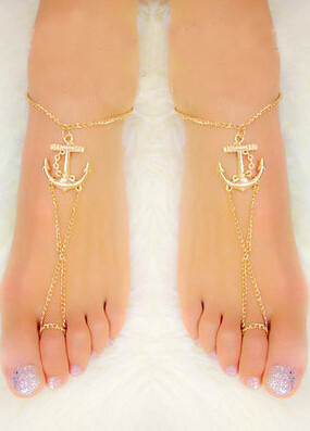166-3838cc2674fa1fb33376787d836b4dd4 Lovely Gold Chain Foot Anklet Jewelry With Anchor Pendant