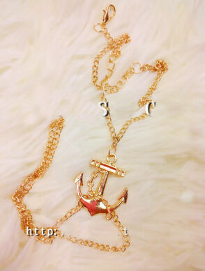 166-b0fa221692dc96a78ef922a92bc0c82f Lovely Gold Chain Foot Anklet Jewelry With Anchor Pendant
