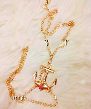 Lovely Gold Chain Foot Anklet Jewelry With Anchor Pendant