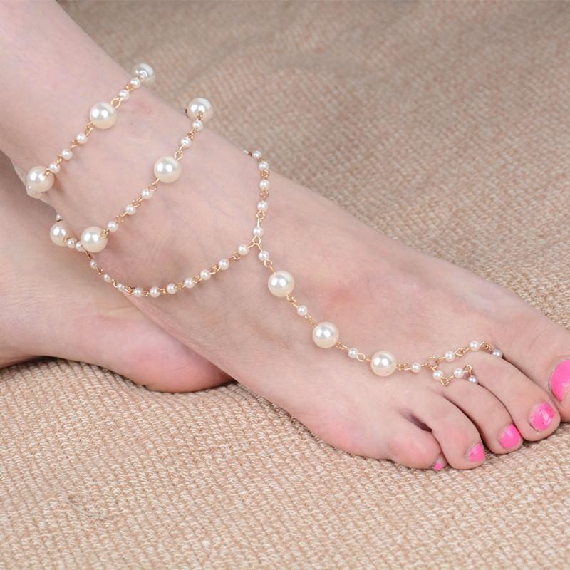 167-ddaef67eada66a7a6132f4600471bdca Sophisticated Bridal Pearl Chain Anklet Bracelet Jewelry