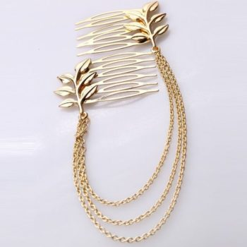 Classy Gold Plated Chained Pair Of Leaf Decorated Hair Combs