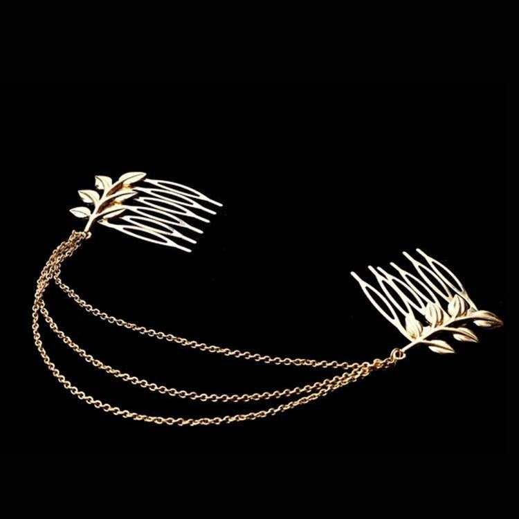 183-820f7d8d7ec8bccad757d7b8464ef6ca Classy Gold Plated Chained Pair Of Leaf Decorated Hair Combs