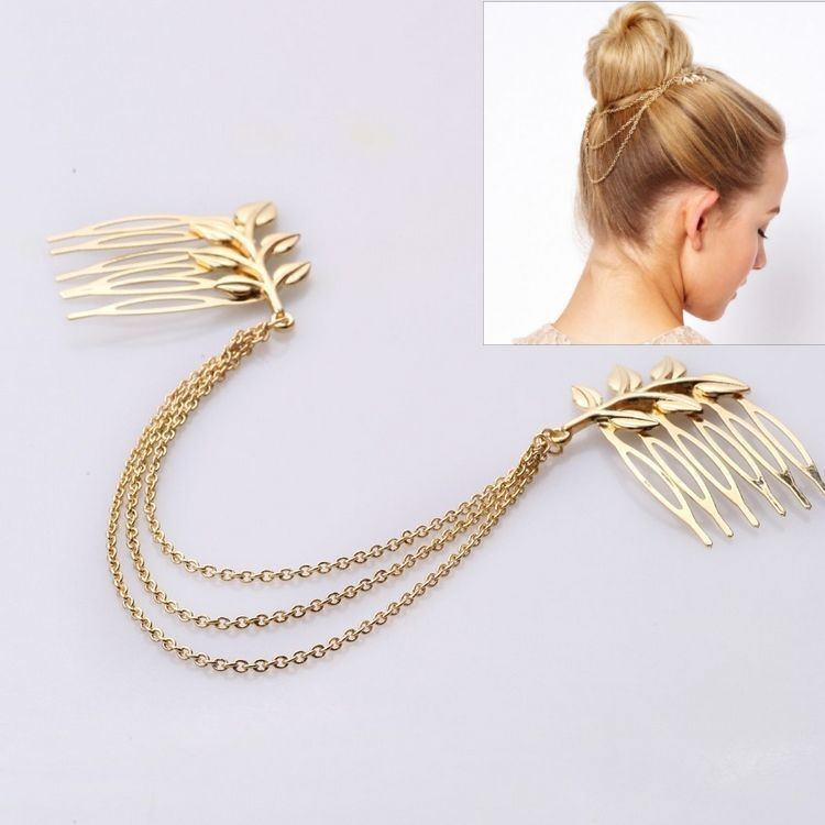 183-b2d0943609e1eadb076fa96e0186178c Classy Gold Plated Chained Pair Of Leaf Decorated Hair Combs