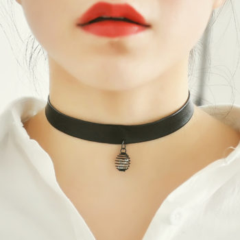 Punk Style Black Leather Choker Necklace With Tiny Pendant