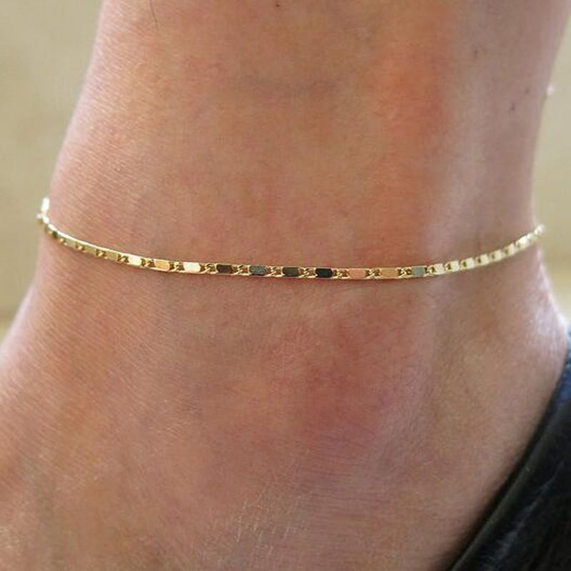 97-942ad2b0048a95f9beb57a2f724ad89c Simple Gold Or Silver Plated Box Chain Anklet Jewelry