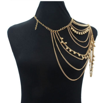 One Shoulder Multiple Layered Body Chain Necklace