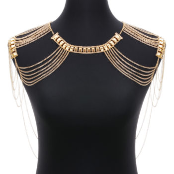 Classic Style Jewelry Statement Necklace Body Chain Shoulder Chain 2016 Fashion Alloy Multilayer Tssel Necklace For Women