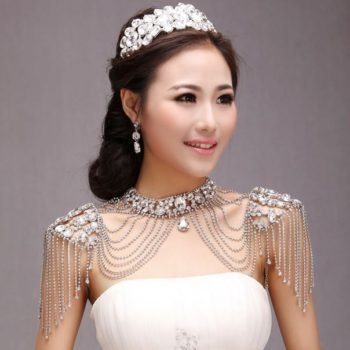 Bridal Crystal Chain Choker Necklace For Shoulders