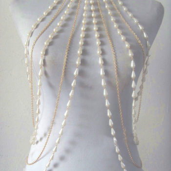 Elegant Faux Pearl And Silver/Gold Chain Body Harness