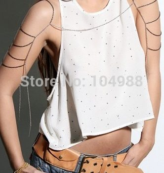 Trendy Gold Plated Ladder Chain Necklace For Shoulders