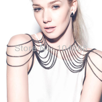 Cool Gunmetal Plated Tiered Shoulder Chain Necklace