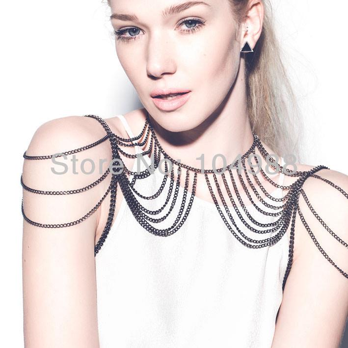 11477-9e0514e23874a5e0dac40c12baa51659 Cool Gunmetal Plated Tiered Shoulder Chain Necklace