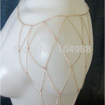 Gold Plated One Shoulder Chain Net Sleeve Jewelry