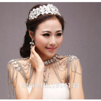 Luxurious Bridal Shoulder Chain Necklace With Crystals