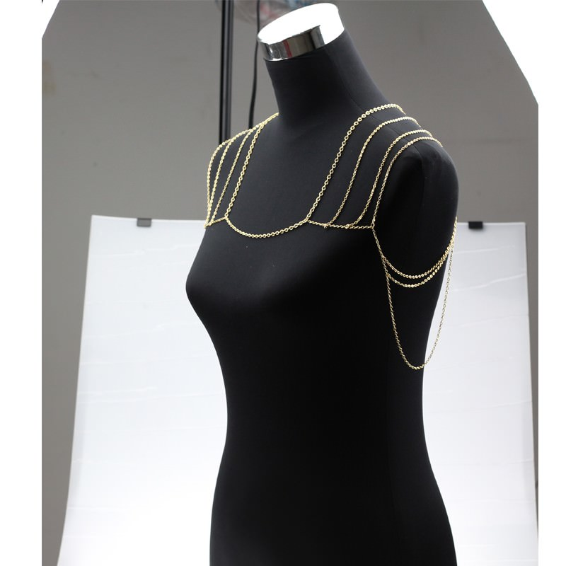 11497-2b8fc801e1b007932840c0ca70ac7c05 Gold Plated Body Chain Shoulder Accessories Multilayer Tessel Necklace Body Chain Women harness Body Jewelry