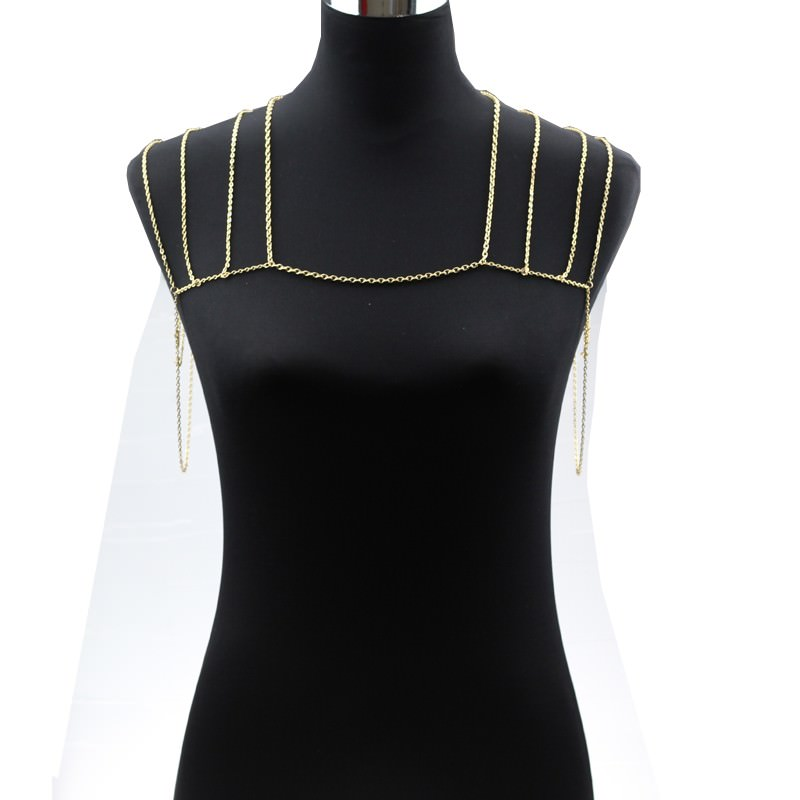 11497-3db8b5cdfa1e4dde98b0a57c6fbe53fc Gold Plated Body Chain Shoulder Accessories Multilayer Tessel Necklace Body Chain Women harness Body Jewelry