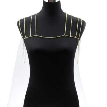Gold Plated Body Chain Shoulder Accessories Multilayer Tessel Necklace Body Chain Women harness Body Jewelry