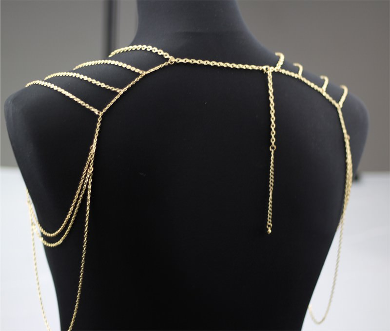 11497-ec15b6e9abf568cbe1c27d4d822fa6ec Gold Plated Body Chain Shoulder Accessories Multilayer Tessel Necklace Body Chain Women harness Body Jewelry