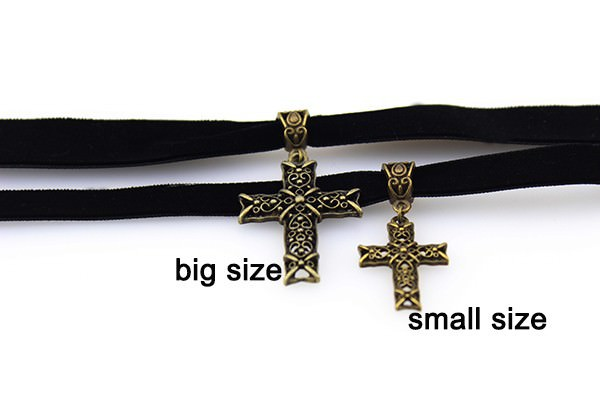 11501-ac007034ffacc7e01b118ee402e1611e Sexy Gothic Velvet Strip Choker Necklace With Cross Pendant