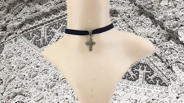 11501-ccf1c7c394079ad08773747813122d8c Sexy Gothic Velvet Strip Choker Necklace With Cross Pendant