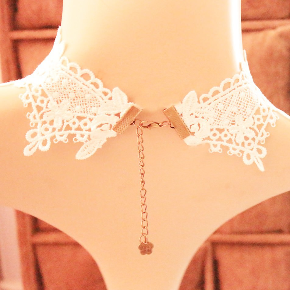 11503-30494beb2d86bcec9798d3f919dab2aa Delicate White Lace Wedding Chain Choker Necklace