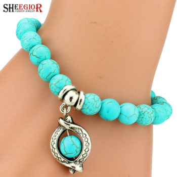 Vintage Beaded Turquoise Charm Bracelets For Women