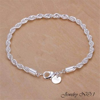 Fashion Silver Plated Charm Bracelet Chain With Lobster Clasp