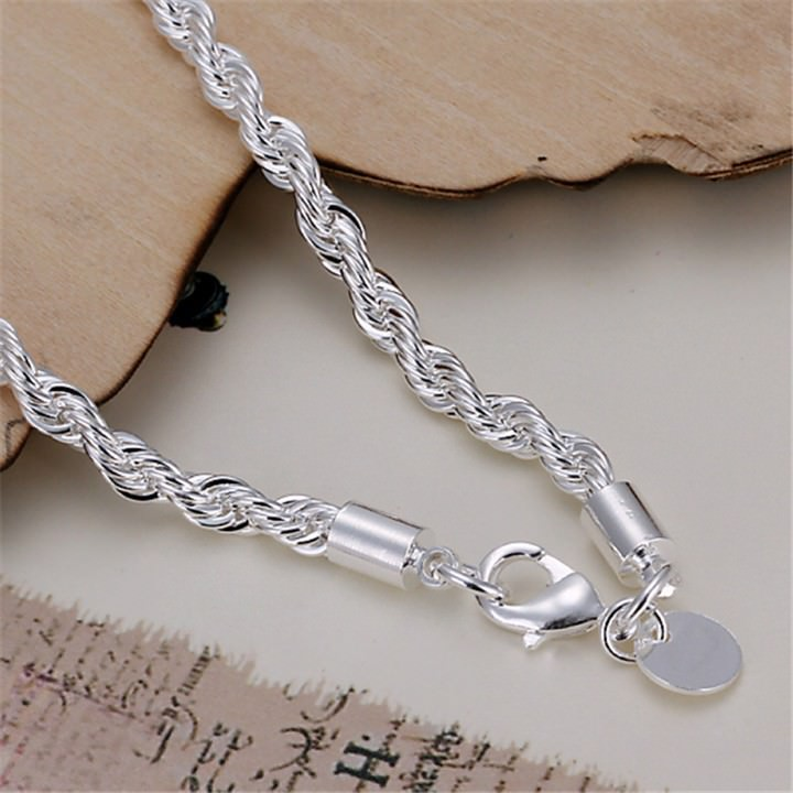 11509-785cd2442bd8e344f45aa0bc8b5ff2c0 Fashion Silver Plated Charm Bracelet Chain With Lobster Clasp