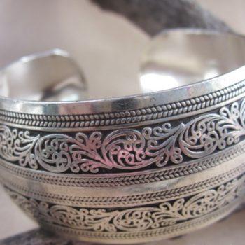 Wide Gypsy Cuff Bangle Silver Bracelets For Women