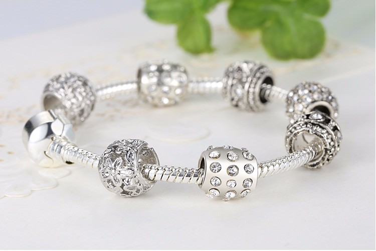 11512-ab31f8f18dc73dd168b35308edcd0644 Simple Charm Bracelet Chain With Crystal Beads