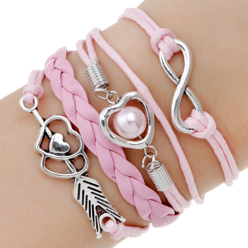 11513-1f1230f0aa678c2117f2001a1050d252 Retro Multilayer Leather And Chord Bracelet With Metal Charms