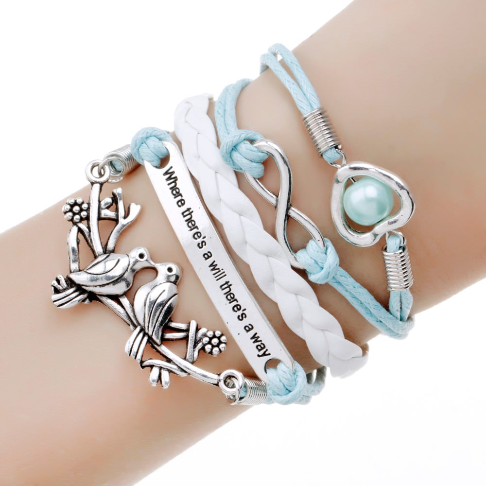 11513-5a016c503757188874ad5fca4ffb8eed Retro Multilayer Leather And Chord Bracelet With Metal Charms
