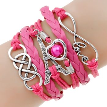 Retro Multilayer Leather And Chord Bracelet With Metal Charms