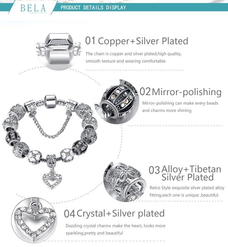 11514-5e0f5ceaaa1d2409f2eca8905d929e22 BELA Silver Charm Bracelet Chain With Heart Pendant Charm