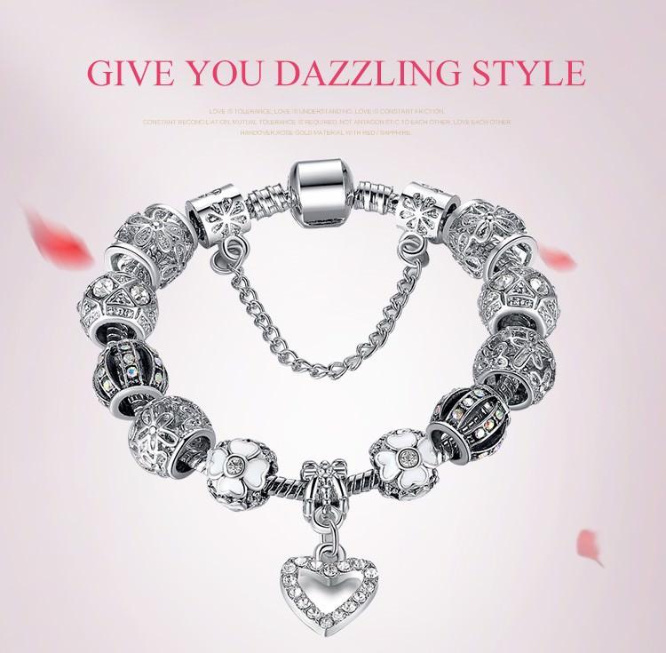11514-9bcb9c9dd9ce138a217d26957e932918 BELA Silver Charm Bracelet Chain With Heart Pendant Charm