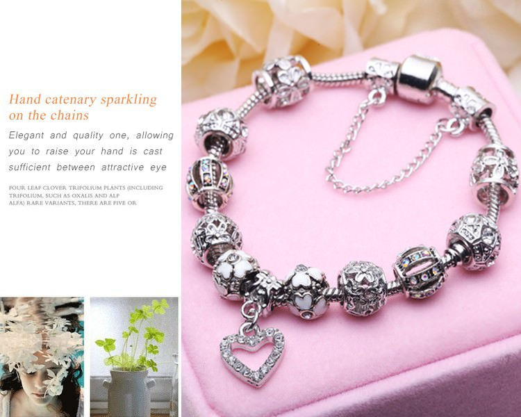 11514-a73ae31b6af1a5c744f66fa54cd09f8f BELA Silver Charm Bracelet Chain With Heart Pendant Charm