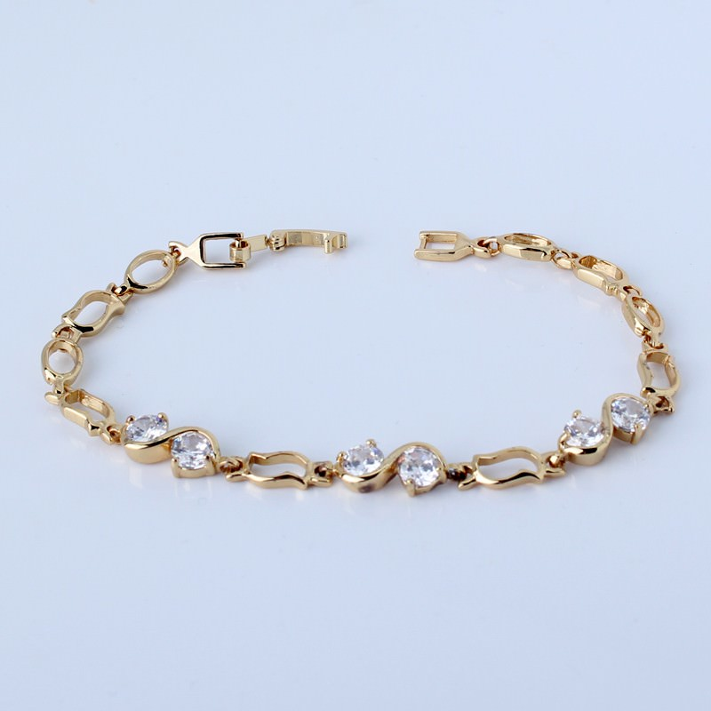 11517-b62db80cf12a7b2dd005b5b576118141 Ornate Chain Link Bracelet Jewelry With Cubic Zirconia Crystals