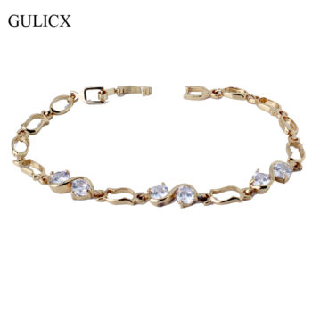 GULICX Ornate Chain Link Bracelet Jewelry With Cubic Zirconia Crystals