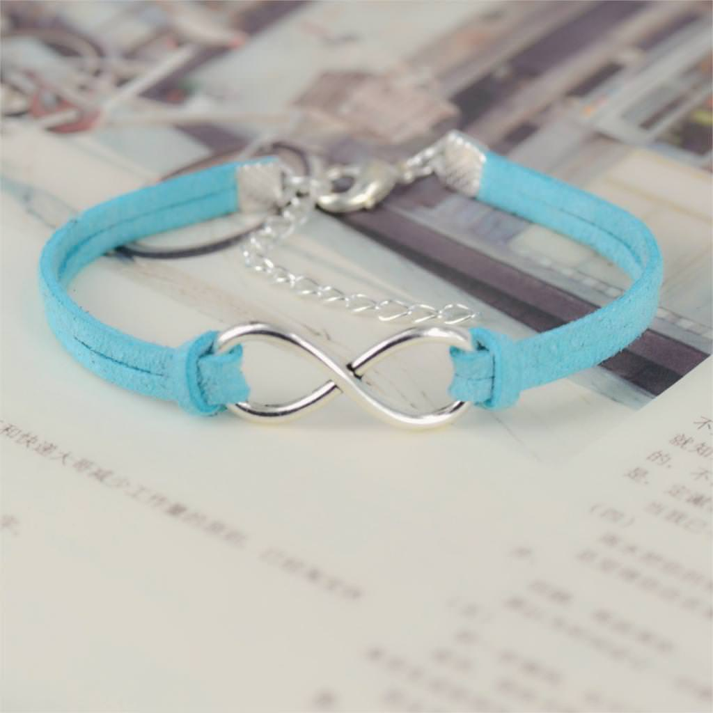 11519-055ab452e12c2a203a2ce86237150913 Silver Plated Infinity Charms With Leather Strap Bracelet Jewelry