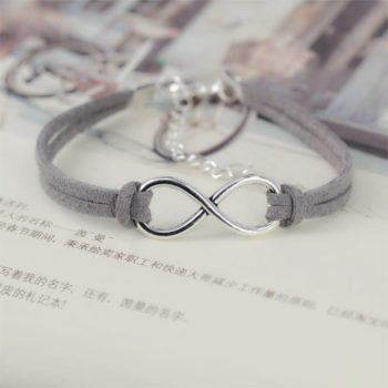 Silver Plated Infinity Charms With Leather Strap Bracelet Jewelry