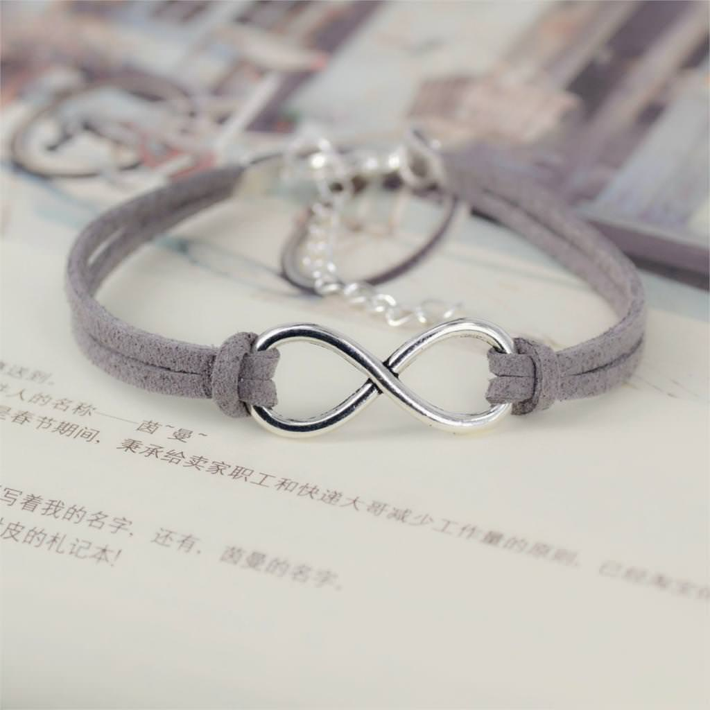 11519-680d14237e43bb146608bc3c4a9a397d Silver Plated Infinity Charms With Leather Strap Bracelet Jewelry