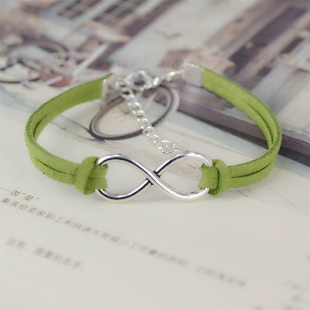 11519-97d821442f01e400cc896266bb402d78 Silver Plated Infinity Charms With Leather Strap Bracelet Jewelry