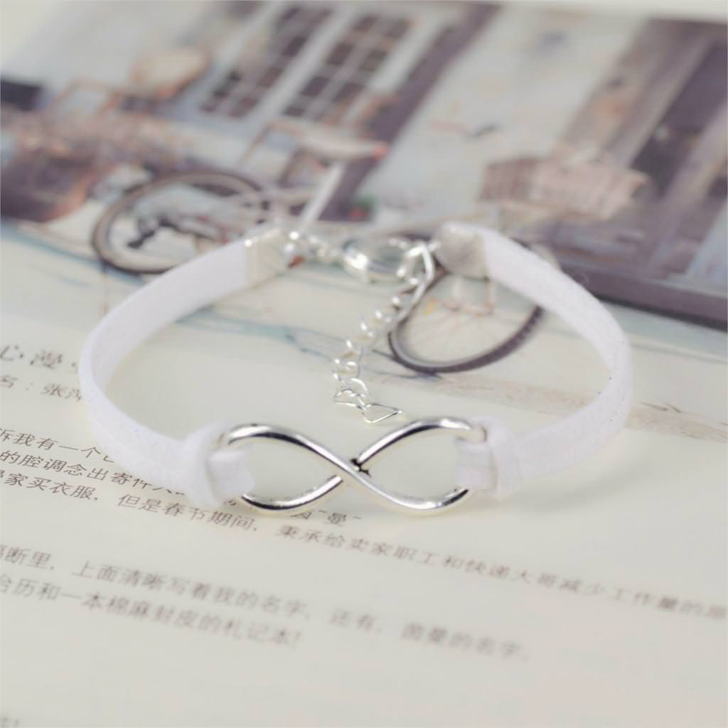 11519-cf4327f34dc0b6076939f3cb52ff59d6 Silver Plated Infinity Charms With Leather Strap Bracelet Jewelry