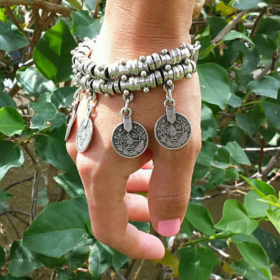 11523-6beba259b25c1e241b587a46af5ae268 Vintage Bohemian Silver Coin Charm Bracelet Jewelry
