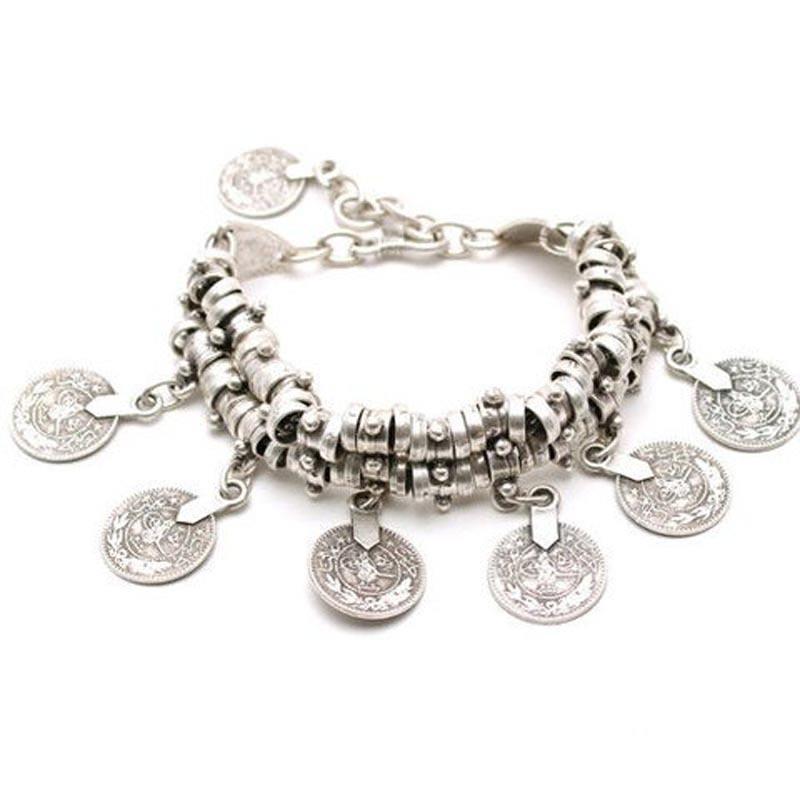 11523-eb36b95a8e6d6b71d919a2d096f36f67 Vintage Bohemian Silver Coin Charm Bracelet Jewelry