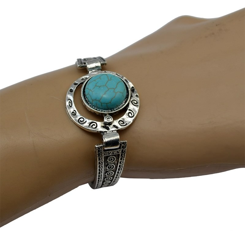 11525-435d2a3197ea09bf131854058e2bd8d9 Vintage Retro Silver Bracelet Jewelry With Various Turquoise Accent