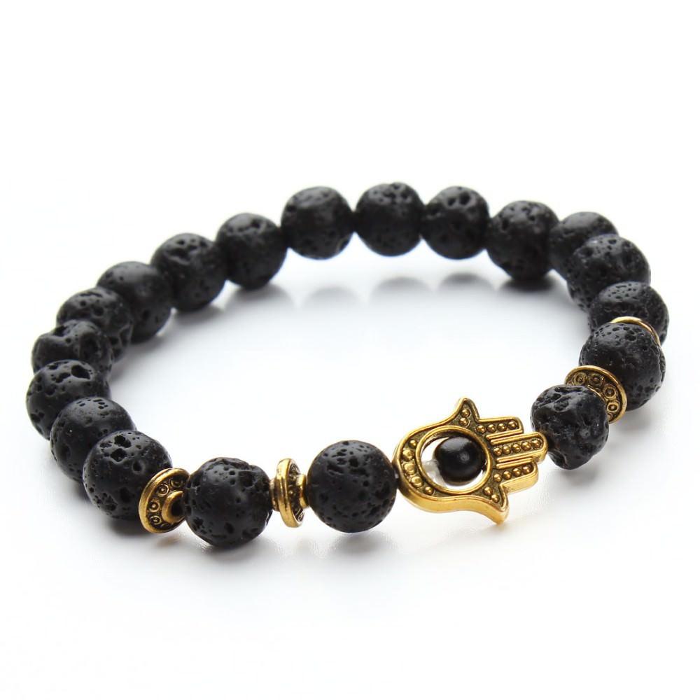 11529-4cf49fc502ef8e4bbb41cbfea6e2c8ae 8mm Natural Stone Bead Elastic Yoga Bracelet Jewelry With Hamsa Charm
