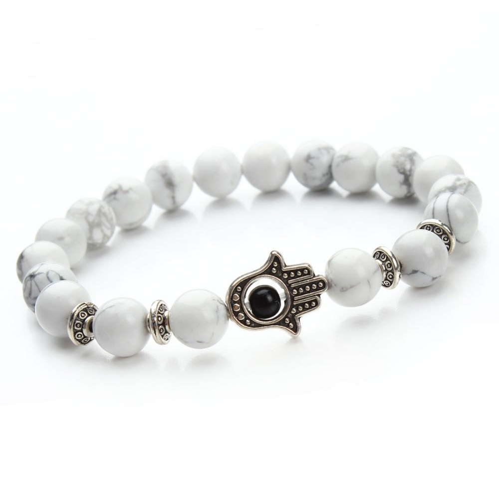 11529-68701be3f0ab27b33167746ae0bb3b47 8mm Natural Stone Bead Elastic Yoga Bracelet Jewelry With Hamsa Charm